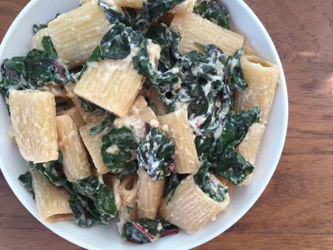 Meatless Monday – Rigatoni with Swiss Chard & Ricotta