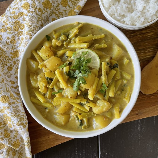 Indian-Spiced Wax Beans & Potatoes with Coconut Gravy